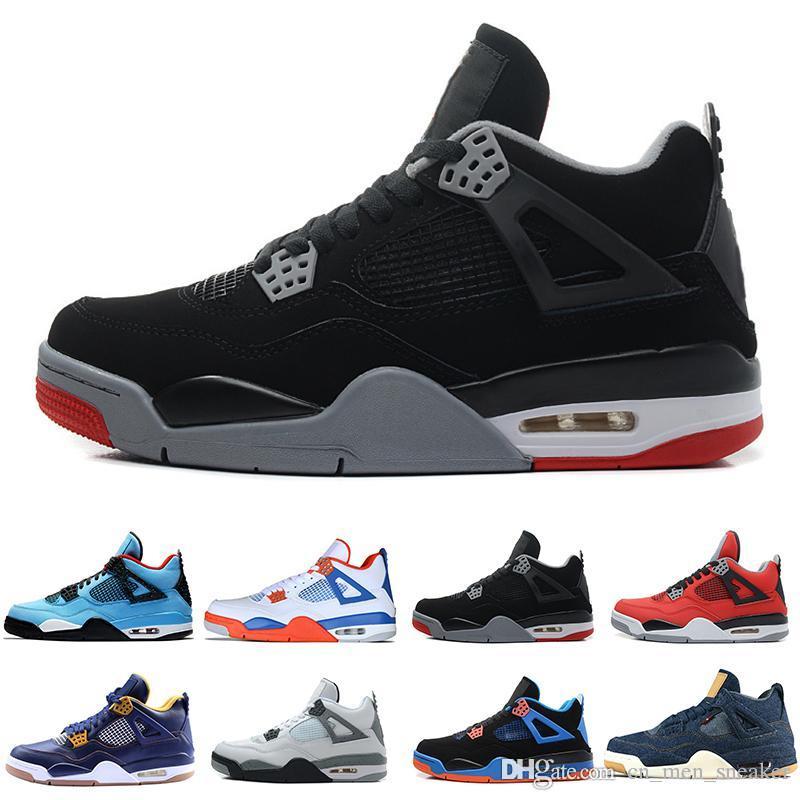 4 4s Travis Scotts Cactus Jack Mens scarpe da basket Raptors tatuaggio del denim Eminem puro cemento uomini sport sneaker progettista Denaro Royalty Bianco