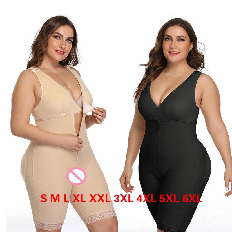 Women Sexy Shapewear Skinny Underwear Open Crotch Bustier Lace Edge Zipper Bodysuit Slim Waist Full Body Corset Plus Size S-6XL