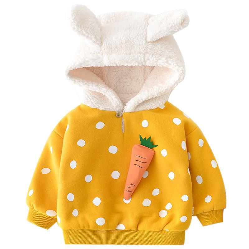 Bebé de terciopelo además de fruta de otoño e invierno suéter de los nuevos hombres y mujeres chaqueta de estilo occidental bebé gruesa de algodón con capucha de invierno