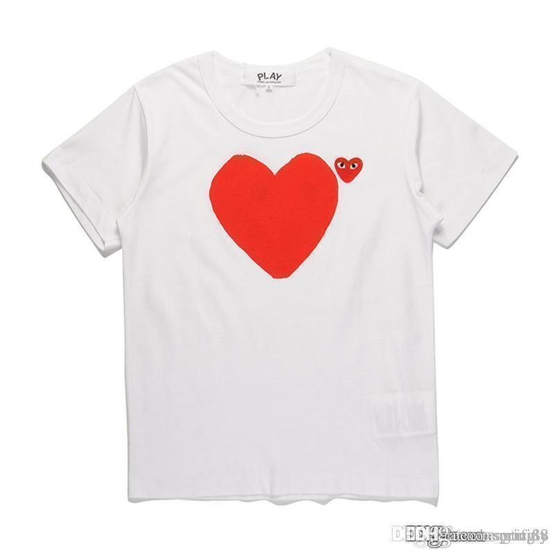 2018 COM Calidad Hombres Mujeres Blanco Comme des Garçons Madre y mango total del corazón camiseta blanca diseñador de los hombres camisetas del hijo
