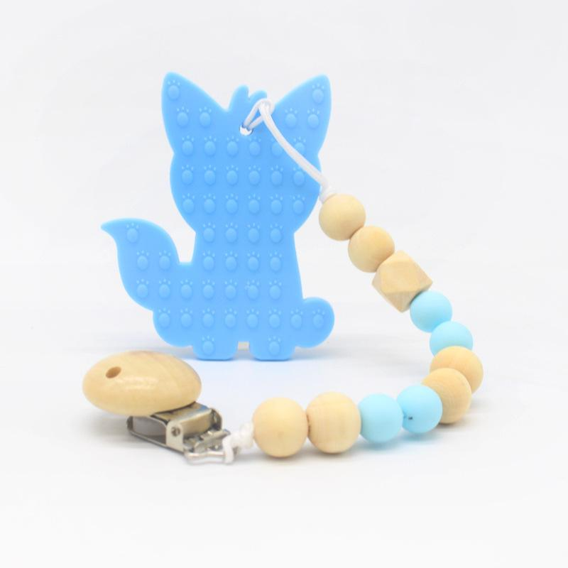 2019 Hot Sale Silicone Wood Baby Pacifier Clips Chain Nipple Pacifier Chain With Holder For Baby Feeding Teether Shower Gift