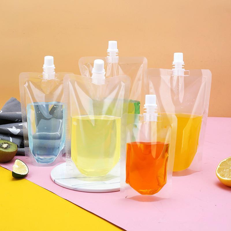 Bolsas de bebidas claras Transparente STEP STEP UP POUCH PLÁSTICO Clear Bebida Bolsas Puede usar para el desinfectante de la mano del gel