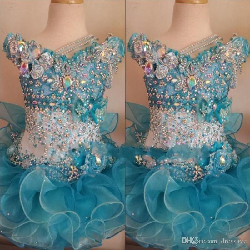 Cupcake Kids Pageant Dresses for Little Girls Baby Beaded Organza Cute Kids Short Prom Gowns Infant Light Blue Crystal Birthday Party Skirt