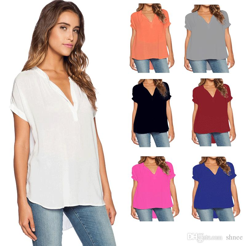 Kadın Gömlek Şifon Bluz Femininas Kısa Kollu Zarif Bayanlar Resmi Ofis Bluz Artı Boyutu 4XL Şifon Gömlek Giyim Tops
