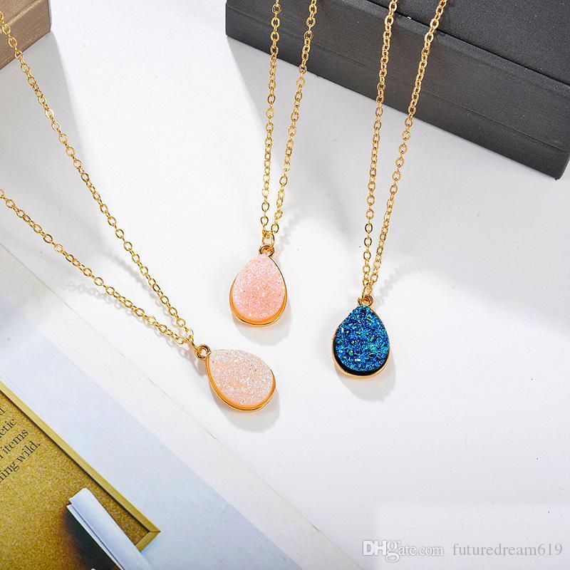 Chegada nova Waterdrop Resina Druzy Colar de Pingente para As Mulheres Branco Rosa Azul Geometria Colar de Corrente Chapeamento de Ouro Moda Jóias