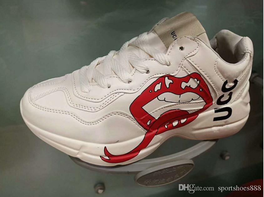 2019 Rhyton G Sneakers Loafers Tasarımcı Lüks G Erkekler Kadınlar Low Cut Casual Spor Ayakkabı Açık Unisex Zapatos Runner Ayakkabı 36-44