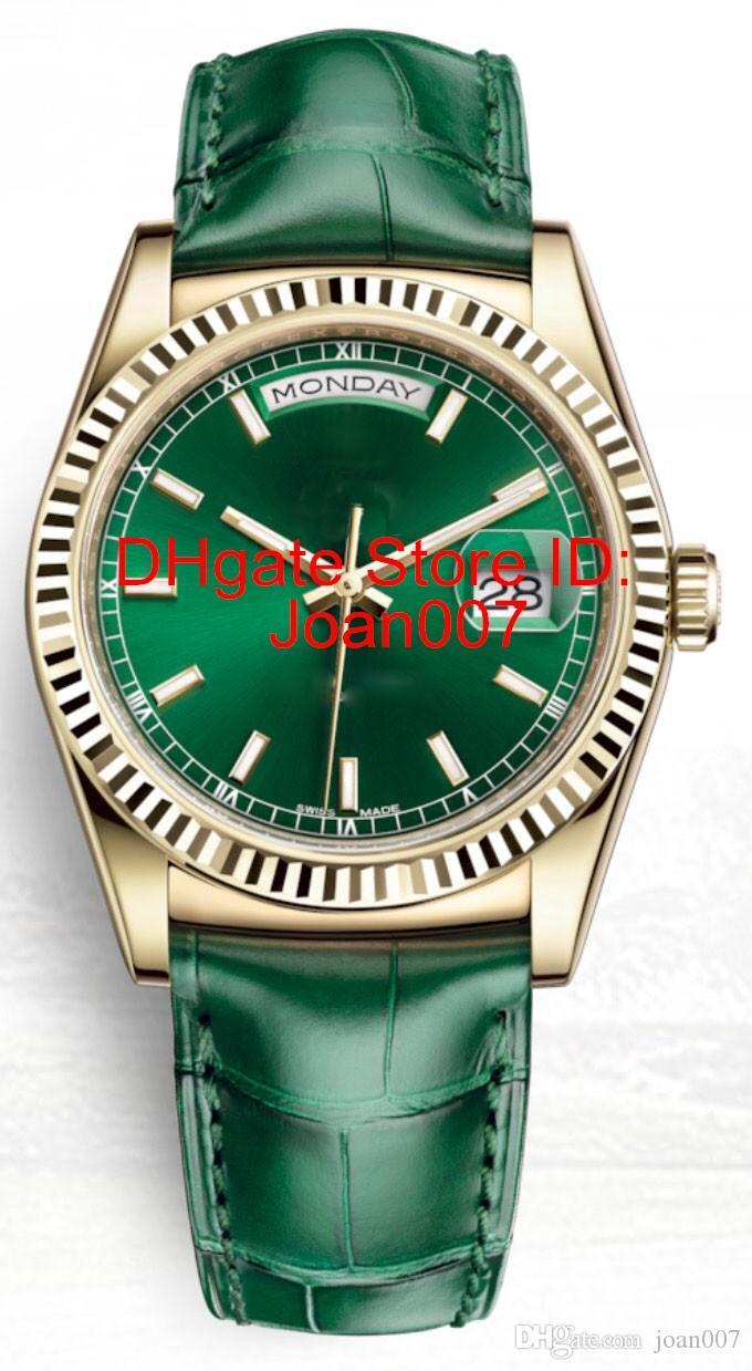 Montre New Green Mens Watch balayage Mouvement mécanique automatique en cuir vert saphir fermoir originale 118138 Montres 36mm