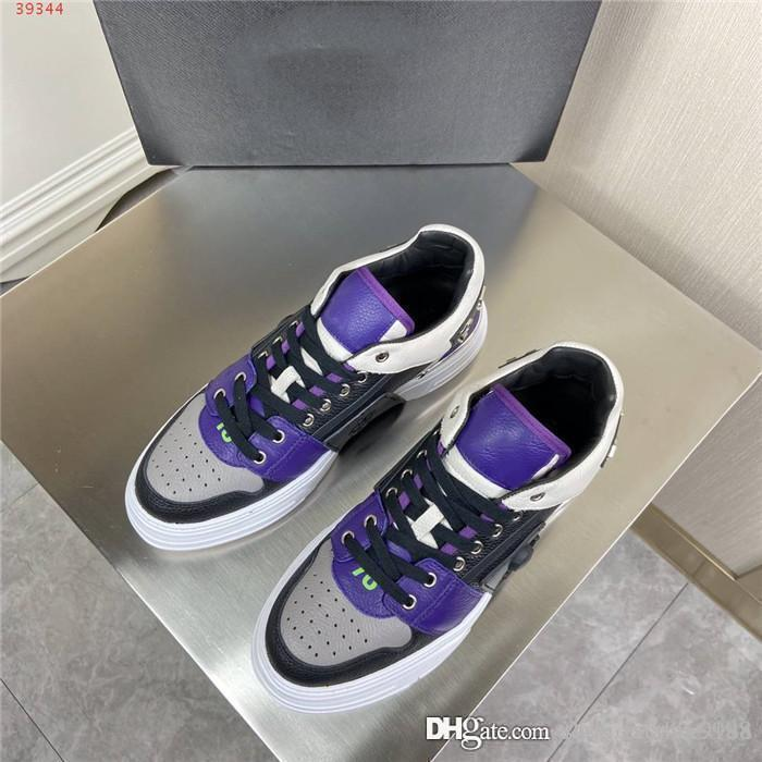 Mens Classic Metal Skull sports casual shoes, multi-material splice mixed color thick sole low top sports shoes Original packaging