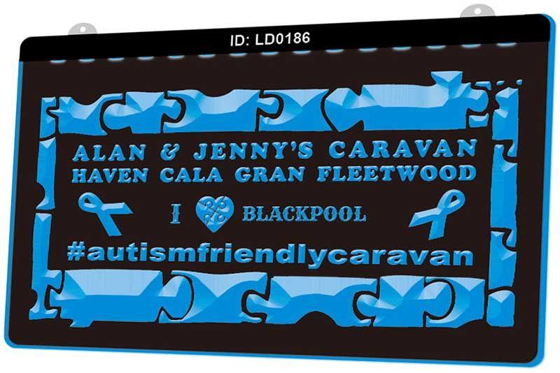 LD0186 Alan & Jenys Caravan Haven Cala Gran Fleetwood I Love Blackpoo New 3D Engraving LED Light Sign Customize on Demand Multiple Color