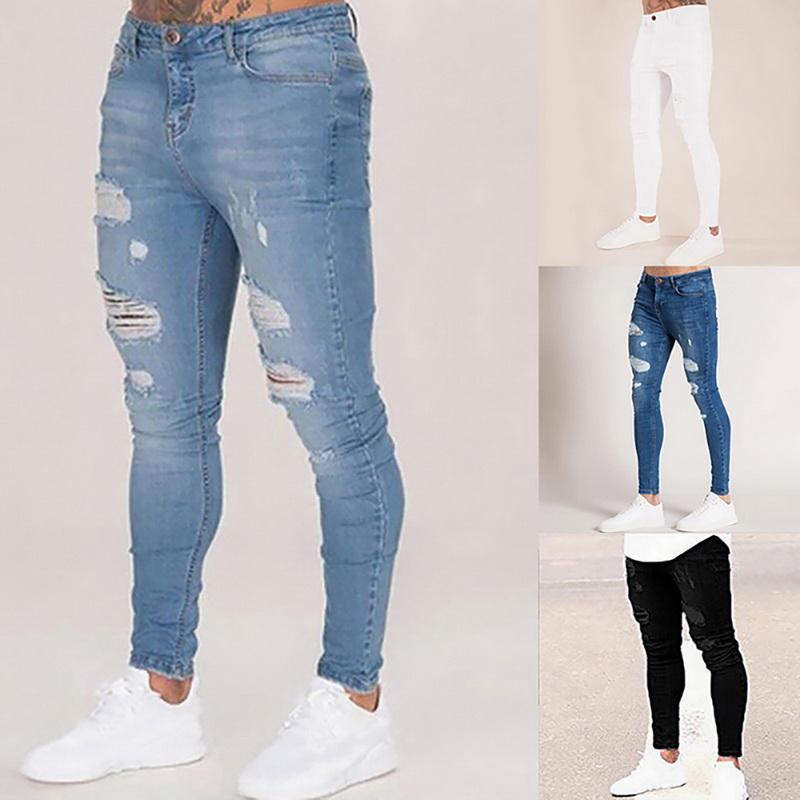 Crayon Pantalons hommes élastique Fit couleur unie Denim Pantalons hommes occasionnels Crayon Noir Jogger Blue Jeans pantalones hombre