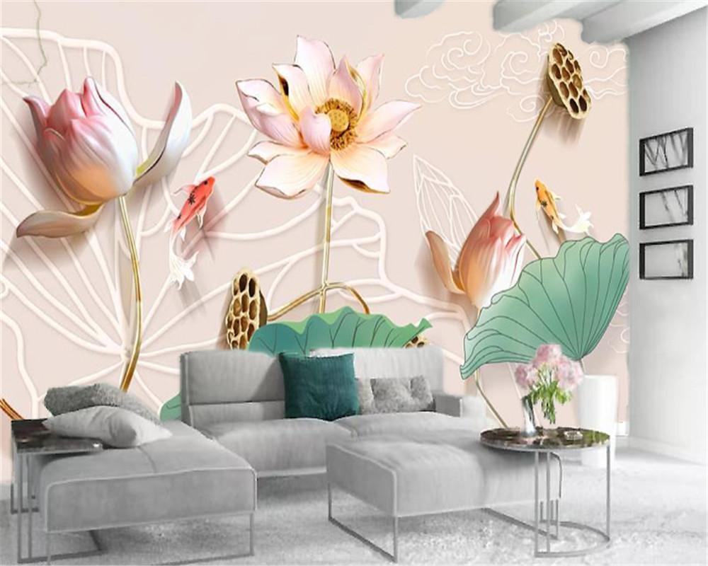 3d duvar kağıdı Duvar 3d stereo kabartma pembe lotus uğurlu Japon balığı özel HD çiçek İç Dekorasyon Duvar Kağıdı