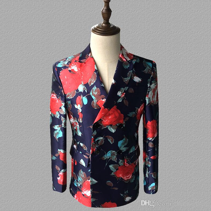 printing blazer men suits Long sleeve jacket mens stage singers clothes dance star style dress punk rock masculino homme terno fashion