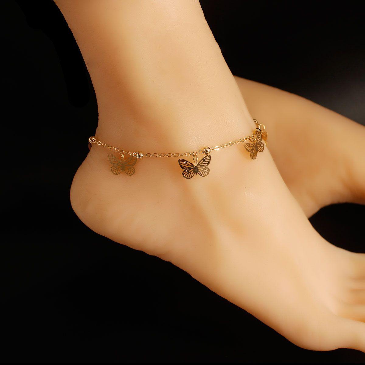 비치 신발 여성 Openwork 나비 펜던트 술 Anklets 캐주얼 비치 휴가 Anklets 팔찌 쥬얼리 앵클 체인