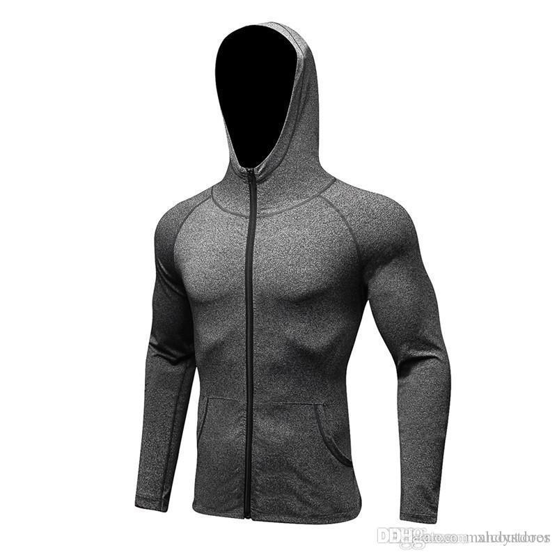 Al por mayor de invierno chándal Camiseta de running de la cremallera sudaderas con capucha para hombre de la camisa de compresión capa de la chaqueta con capucha para hombre de alta calidad