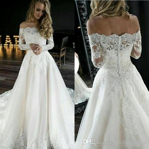Discount 2020 Country Wedding Dresses A Line Off Shoulder Lace Applique Sequined Bridal Gowns With Long Sleeve Sweep Train Garden Wedidng Gowns Tea Line Wedding Dresses Top Of The Line Wedding Dresses,Wedding Long Purple Bridesmaid Dresses
