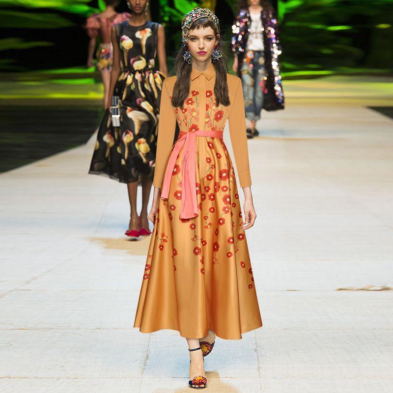 2019 осень желтый цветочный принт пояса кнопки середины икры с длинным рукавом отворотом шеи мода взлетно-посадочной полосы платья Vestidos 9N12YDY10D