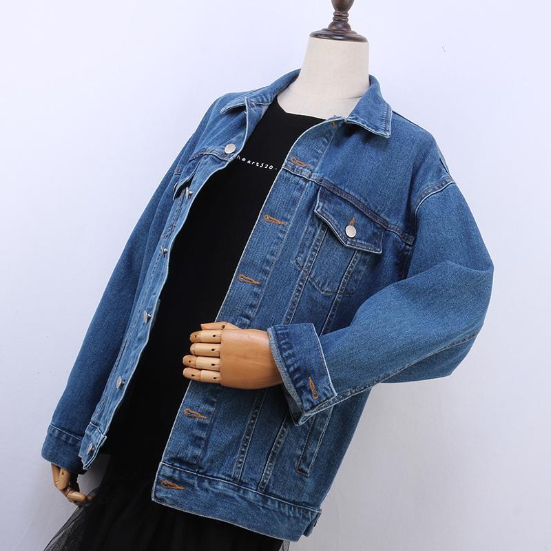 Плюс размер 4XL 5XL Жан Куртка Женский Bomber пальто осень зима вскользь Сыпучие джинсовой куртки Jaqueta с длинным рукавом Vintage джинсы Coat