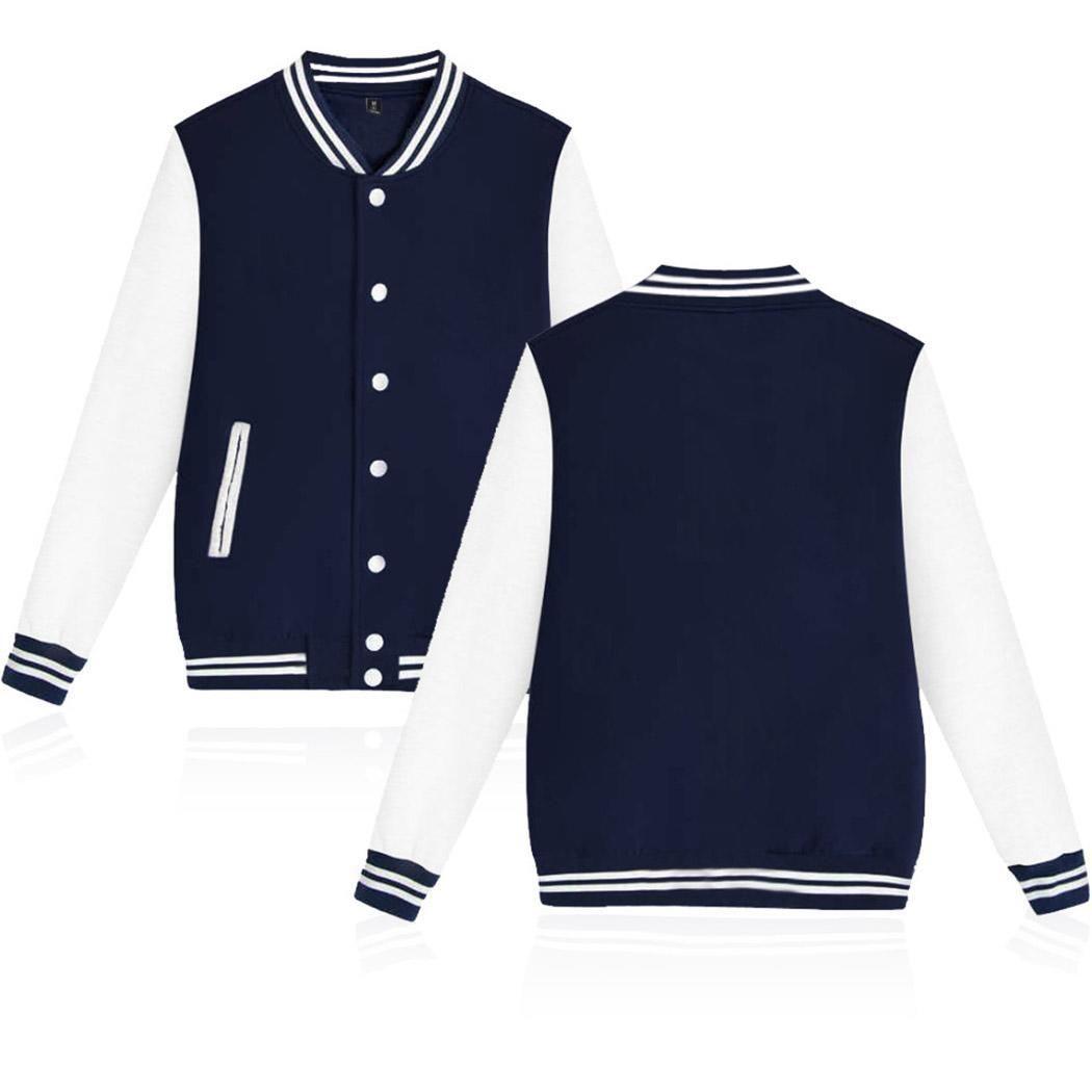 Nueva moda Unisex Stand Collar Manga larga Patchwork Botón de ajuste regular Botón de bolsillo, Béisbol chaqueta informal
