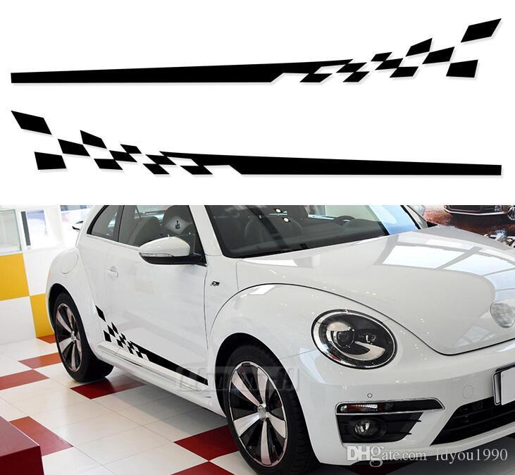 2 adet Araba Stil Damalı Bayrak Kapı Yan Çizgili Vücut Volkswagen Beetle Vinil Çıkartması Etiketler 2011-Mevcut Aksesuarları