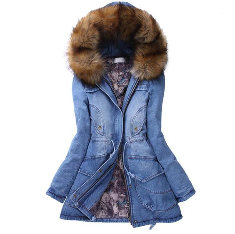 Lange Mäntel arbeiten mit Kapuze Jean Jacken Pelz-warme verdickte Oberbekleidung der beiläufigen Frauen Kleidung Frauen-Winter verdickte
