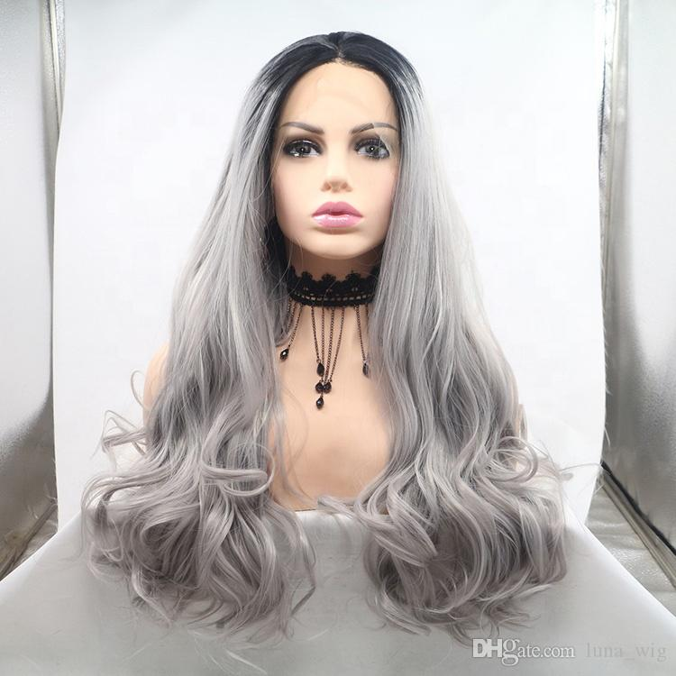 Glueless unprocessed dark root remy virgin human hair grey colorful body wave long full lace silk top wig for women