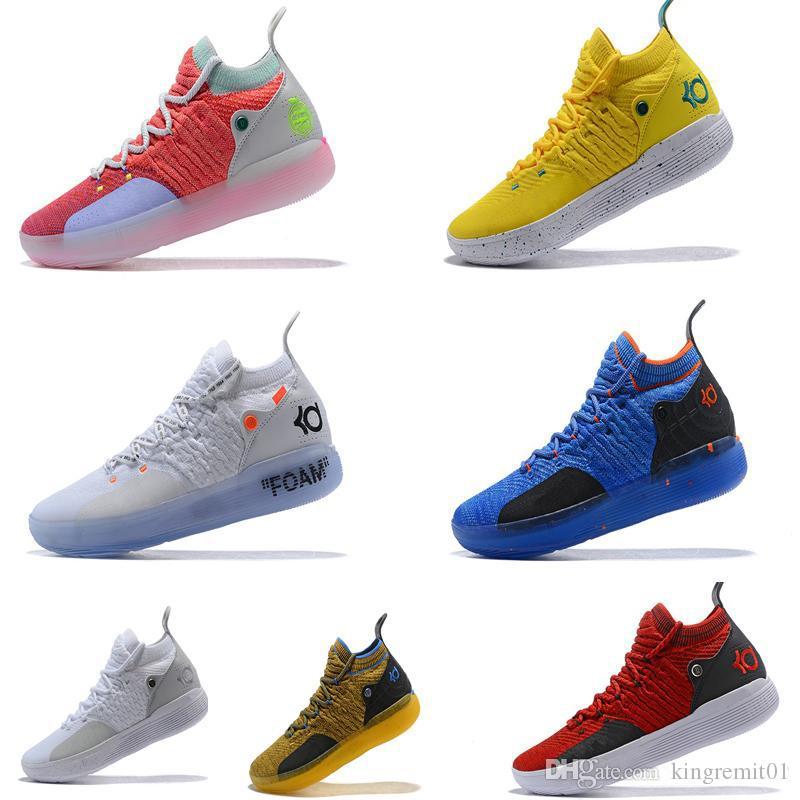 2019 جديد KD 11 EP أصلي Kevin Durant XI KD11 حذاء رياضي رجالي ، أبيض ، برتقالي فوم ، وردي بجنون العظمة ، Oreo ICE ، أحذية كرة السلة مقاس 7-12