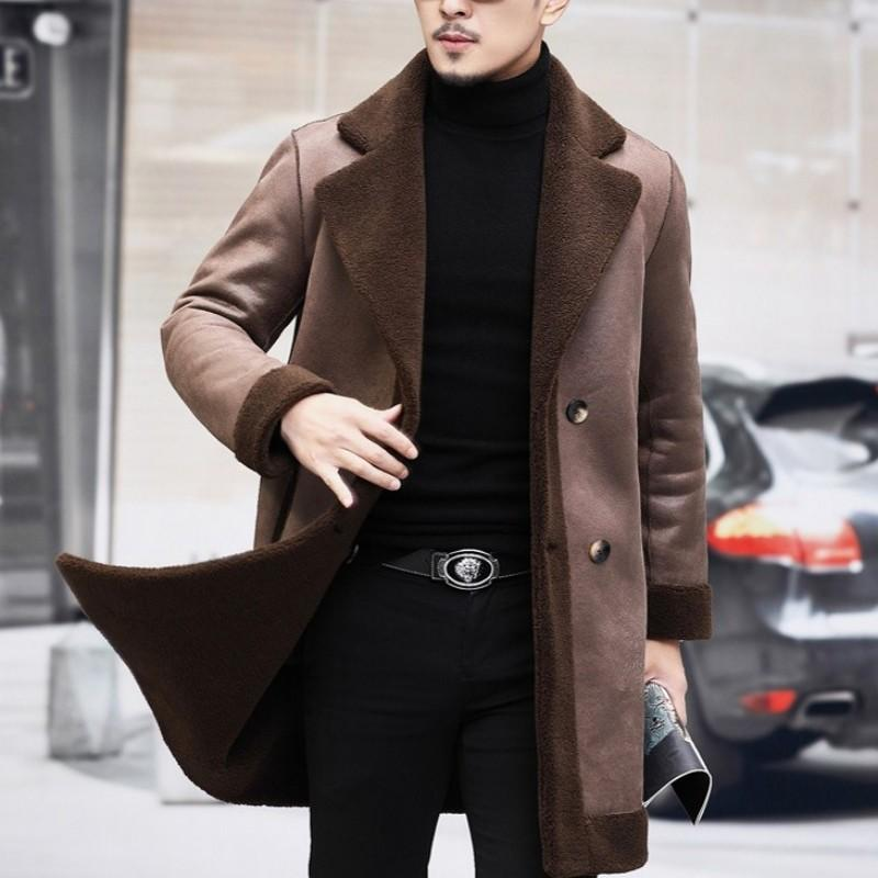 Nuovo Business Man reale pelliccia giacca doppiopetto reversibile Cappotto Uomo Naturale di lana Cappotto lungo Slim Fit Warm shearling Giacche