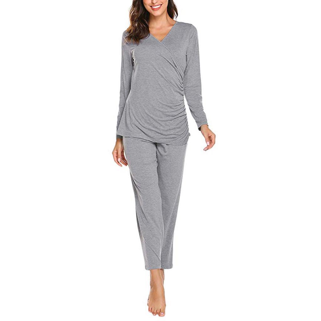 Notte maternité pour les soins infirmiers à manches longues Soins infirmiers Hauts T-shirt + solides longues Pantalons Pyjama Set pyjama allaitement Gravida de4