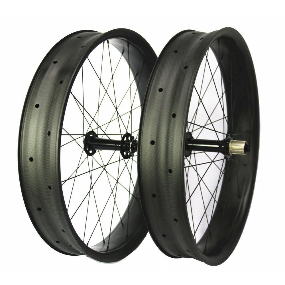 Rodas de carbono Fatbike 26er 100 mm largura M74 através do eixo Clincher revendedor 32 H 3 K
