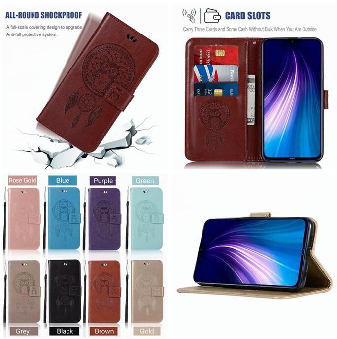 Samsung Galaxy A10S M30S A20S Huawei MATE 30 PRO Moto E6 Artı Kayışı Kimlik Kartı Standı Rüya yakalayıcı Cilt Kapak 50 adet için OWL Cüzdan Kılıf
