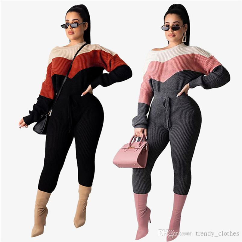 Las mujeres de punto jersey de manga larga con capucha del chándal pantalones casuales de 2 piezas de ropa otoño invierno conjunto jersey trajes se adaptan a los deportes de los capris 2142