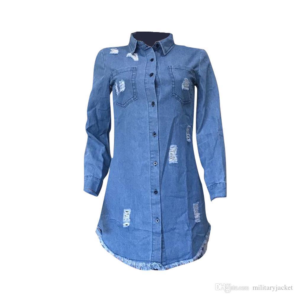Para mujer de Hiphop dril de algodón azul de Jean Camisa de vestir de otoño del resorte rasgado diseñador se viste pantalones vaqueros Borla