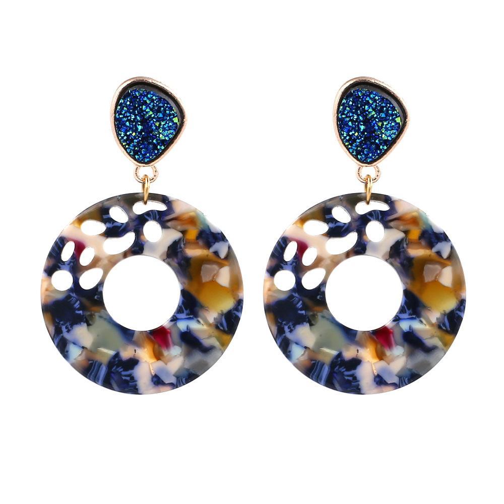 Moda rotonda in acetato acrilico cava orecchino resina orecchino del modello vendita gioielli