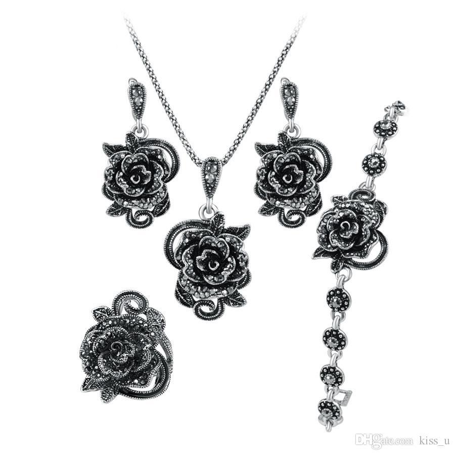 Roses insieme dei monili d'argento per le donne di colore antico anello di nozze e bracciale orecchini collana 4pcs insiemi dei monili d'epoca