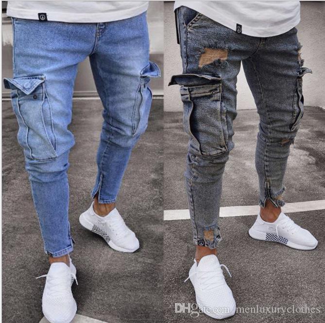 Erkekler Casual Jeans Genç Giyim Jeans Erkekler Tasarımcı Jogger Jean Büyük Tasarım Kalem Pantolon Cepler Fermuar Biker Jeans