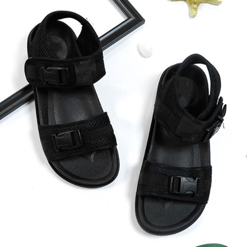 Homens sandálias marca de sapatos de verão malha calcanhar plana PVC antiderrapante único plus size snap-fixador legal sólida sportswear cor beachwear elegante 0144