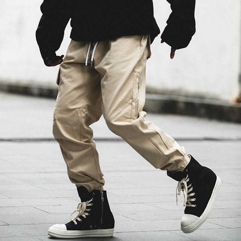 Homens de Moda de coreano Casual solta Patchwork Pockets Macacões Sports Calças Lápis lado Bottoms Individual zipper Calças largas Homens