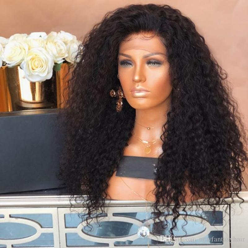 Top Sale High Quality Black Long Afro Kinky Curly Wigs with Baby Hair Heat Resistant Glueless Synthetic Lace Front Wigs for Black Women