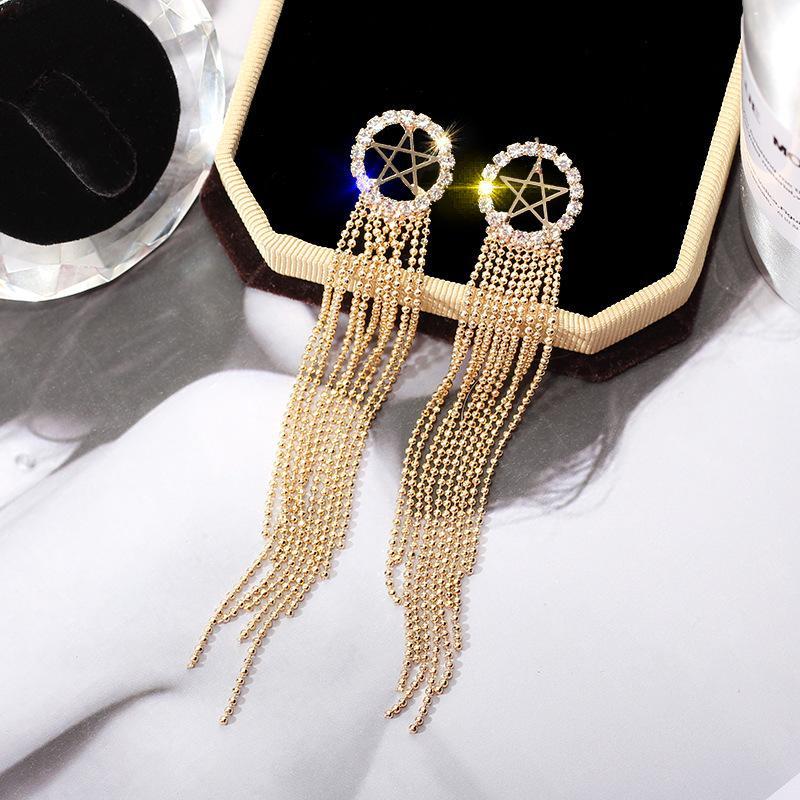 Pendiente de gota Pendientes de moda estrella de damas de ahueca hacia fuera cuelga los pendientes para las mujeres de oro de la astilla de temperamento de las borlas del Rhinestone gota para el oído