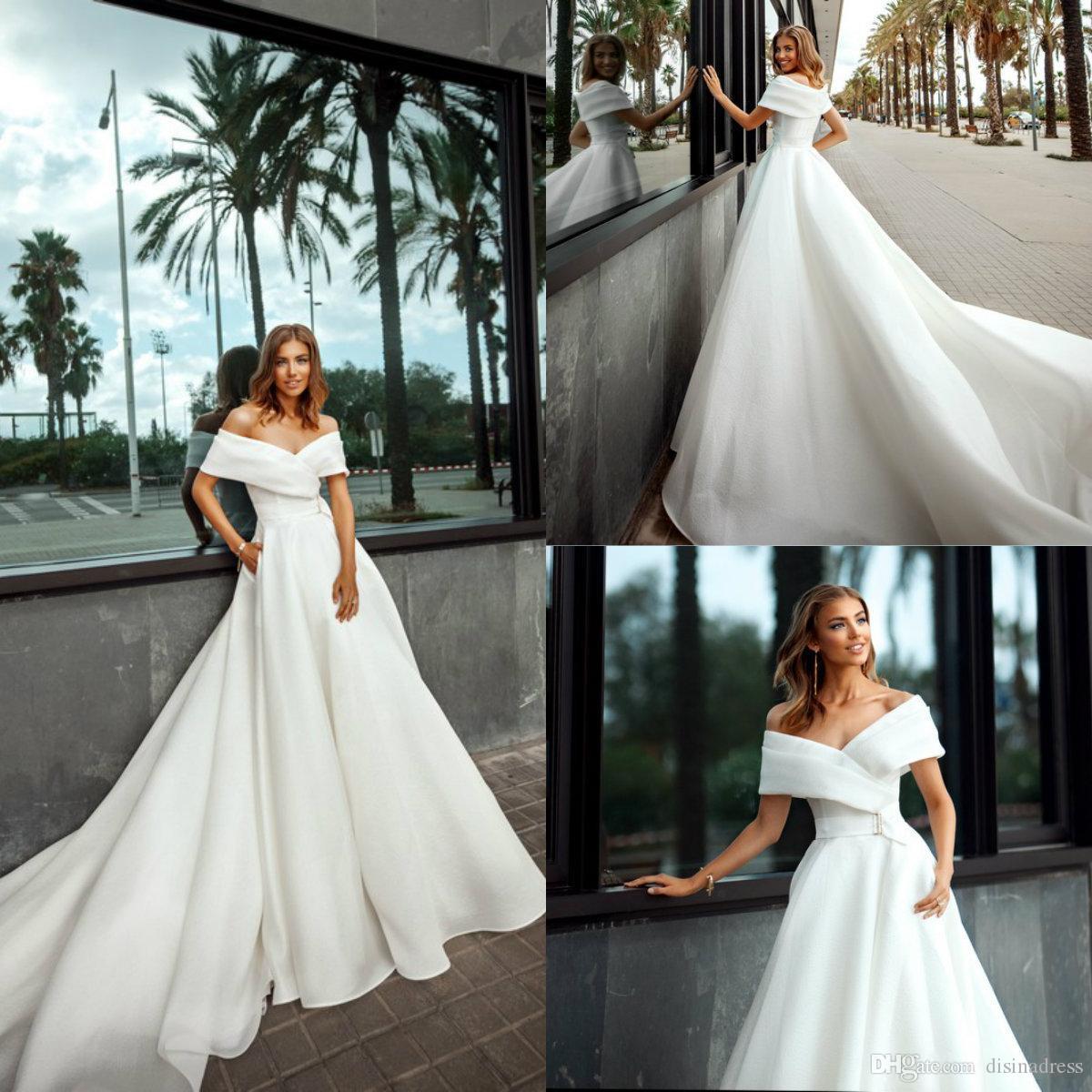 2020 Garden Beach Wedding Dresses Simple A Line Satin Sweep Train Boho Wedding Dress Off The Shoulder Bridal Gowns Abiti da sposa