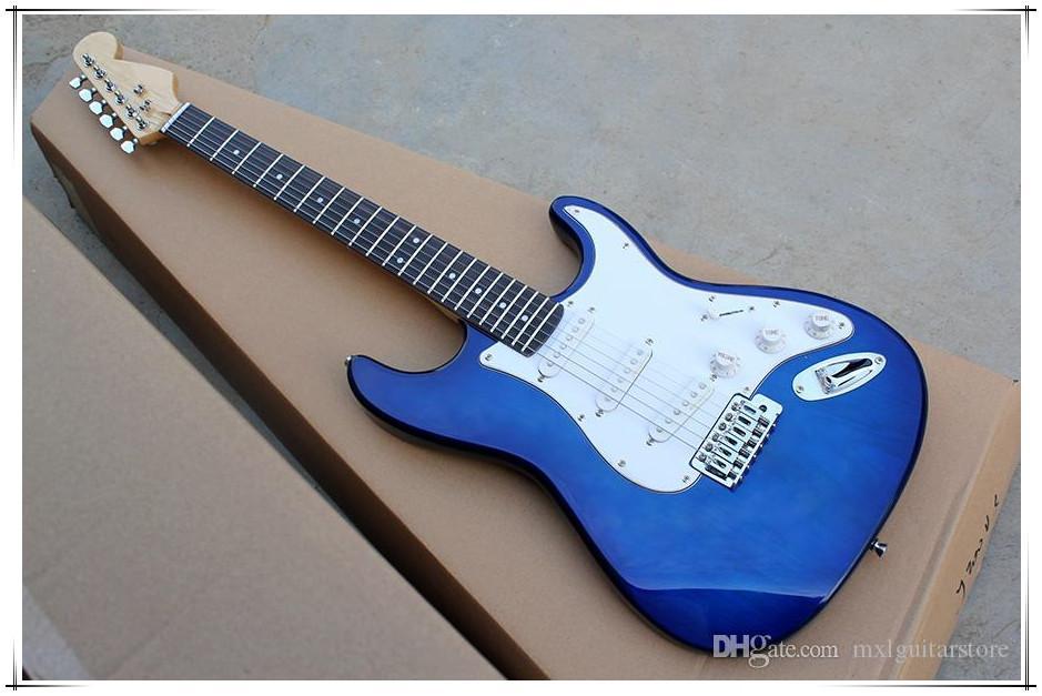 Eğer talep olarak yazma Pickguard krom donanımıyla Fabrika özel Elektro Gitar mavi gövde, akçaağaç boyun Özelleştirilmiş edilebilir