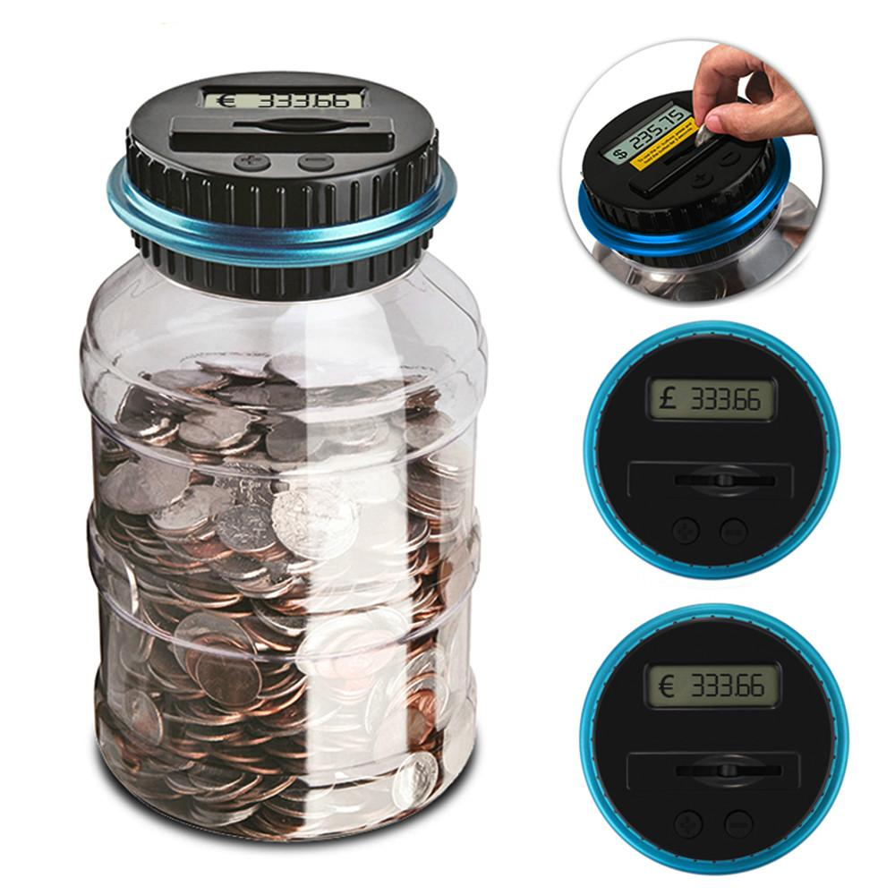 5PCS 1.8L Piggy Bank Counter Coin Electronic Digital LCD Counting Coin Money Saving Box Jar Coins Storage Box For USD EURO GBP Money AIJILE