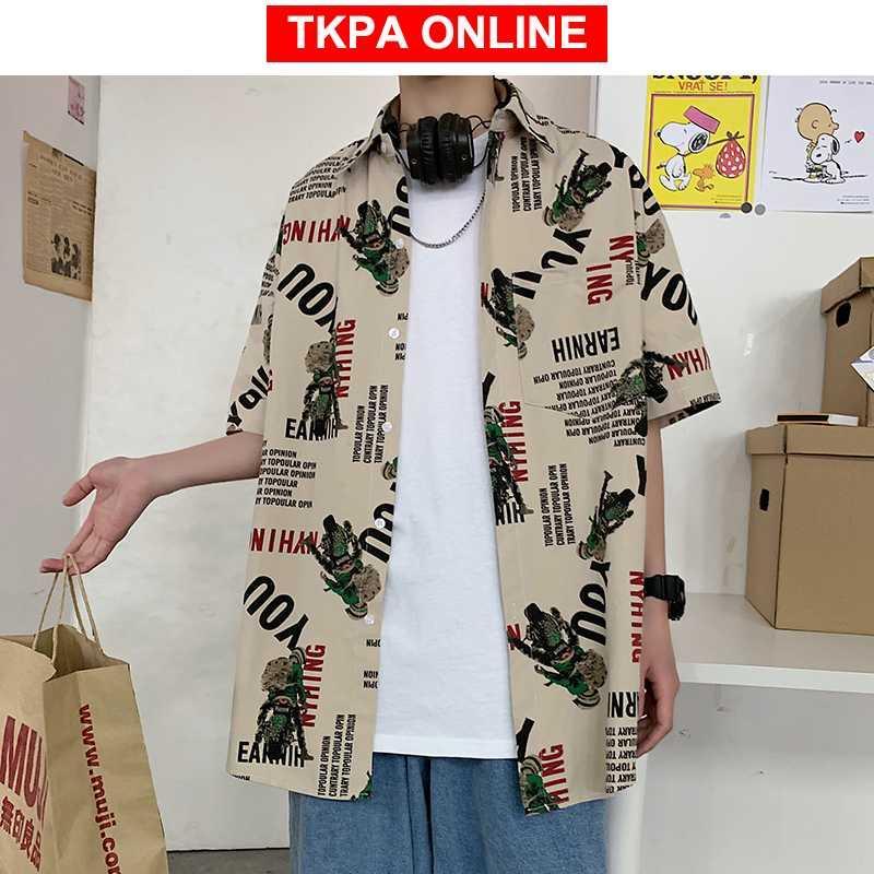 Motocyclette Imprimer Streetwear Shirts 2020 été coréenne Fashiosn Kaki hawaïenne Bouton Blouses Up Shirt Plus Size
