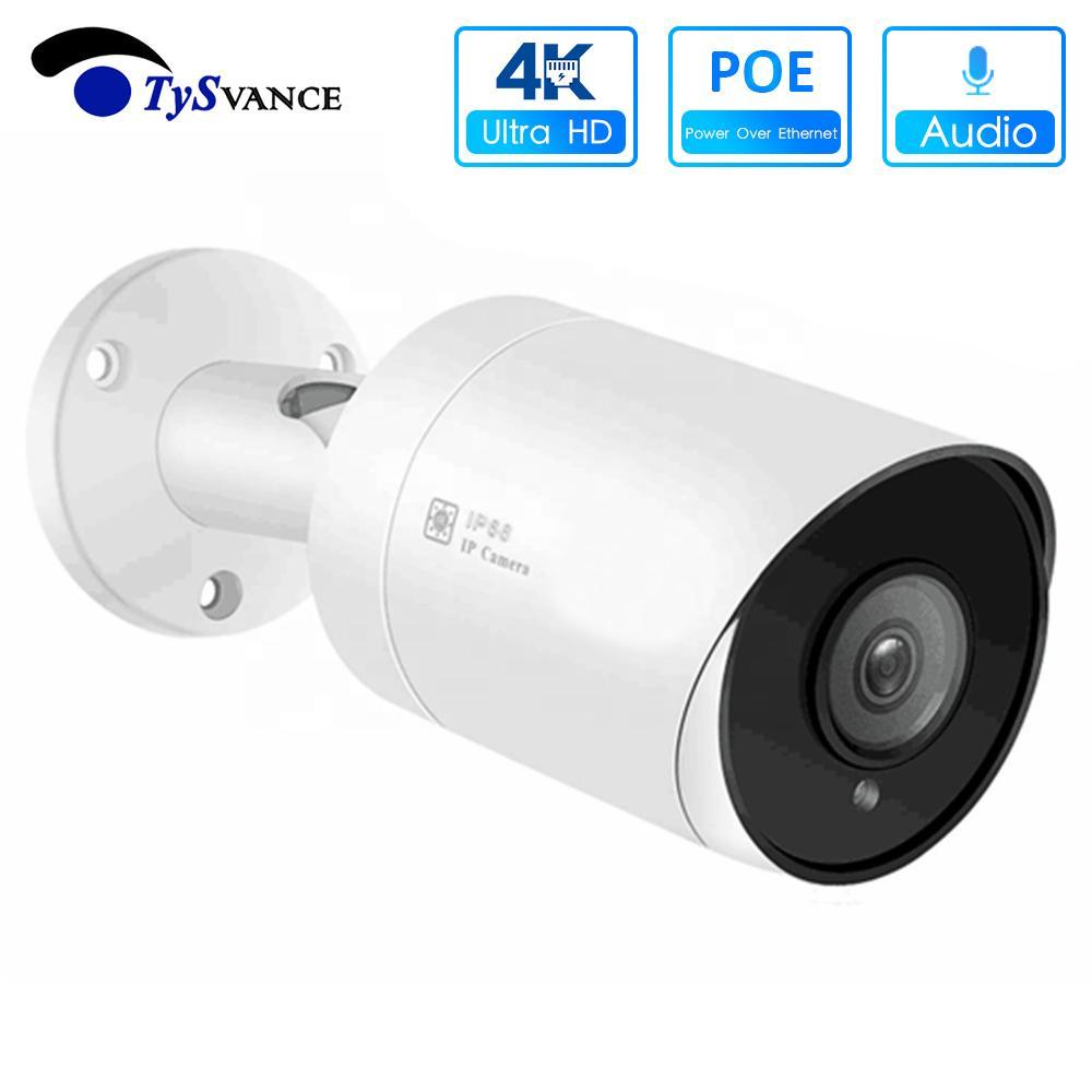POE NVR ONVIF H.265에 대한 4K POE 총알 IP 카메라 울트라 HD 800 만 화소 방수 오디오 비디오 감시 보안 CCTV 카메라