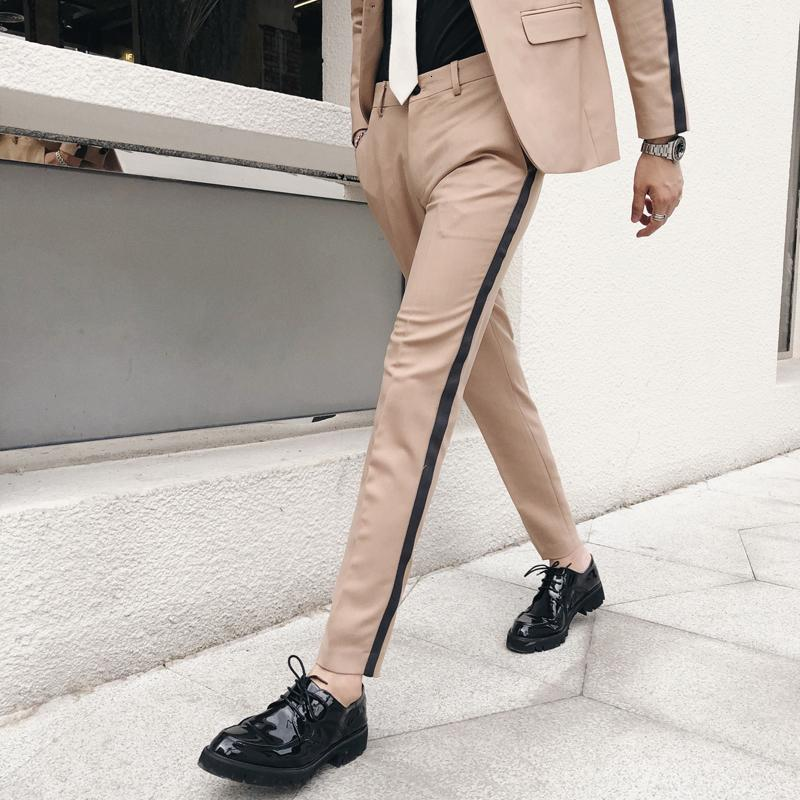 Pantalon Homme Slim Fit Боковые Полосатые Брюки Calcas Sociais Формальный Мужской Костюм Брюки Обтягивающие Vestido Hombre Офисные Элегантные Брюки Мужчины