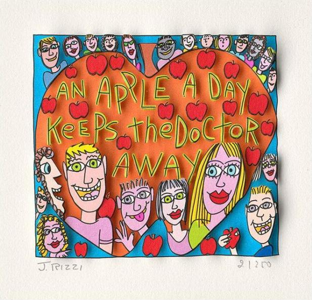 Джеймс Рицци - яблоко в день держит доктора Home Decor ремесленных / HD Печать картины маслом на холсте Wall Art Canvas картинки 191223