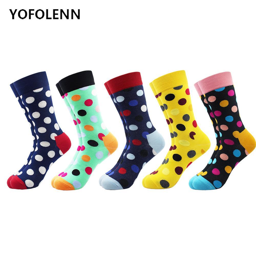 5 çift / grup erkek Renkli Komik Renkli Nokta Penye Pamuk Çorap Parlak Erkekler Uzun Ekip Elbise Çorap Çılgın Paten ABD Boyutu 7.5-12