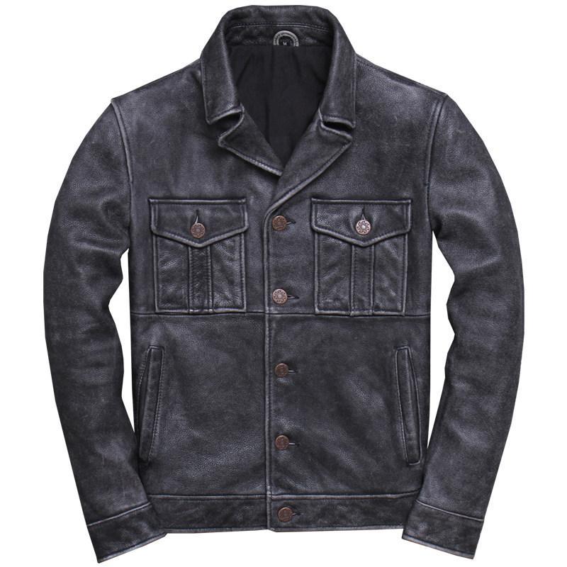 2019 Grey Vintage American Men Jacket Estilo Casual Couro Além disso XXXL Tamanho Genuine Brasão Couro de couro Primavera Curto Natural