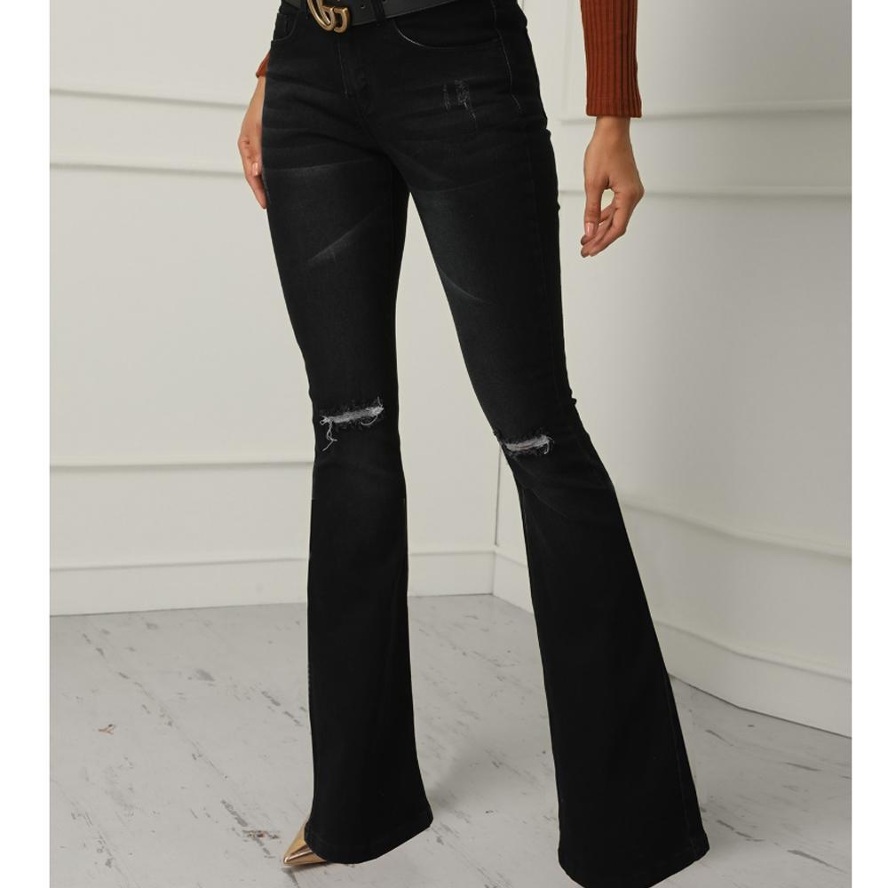 블랙 클래식 긴 높은 허리 벨 바닥 플레어 청바지 부팅 컷 넓은 다리 바지 여성 무릎 구멍 슬림핏 스트레치 청바지
