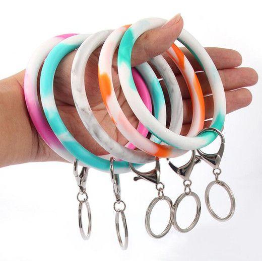 Camouflage chiave del silicone del polso della catena Holder Bracciale portachiavi rotondo del cerchio arcobaleno braccialetto chiave di Keychain per la donna cinturino da polso LXL512L
